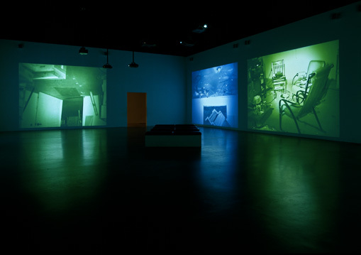 MAPPING THE STUDIO II with color shift, flip, flop, & flip/flop (Fat Chance John Cage). Created by Nauman in 2001