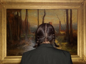 """Tammy Ray with """"The Mill Stream,"""" by George Innes, circa 1888. Minneapolis Institute of Art, 2014. CreditPhotograph by Alec Soth"""