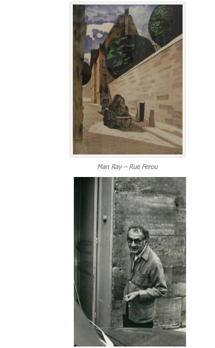 Portrait de Man Ray, à la porte de son appartement rue Férou (vers 1970), photo signée H. Cartier-Bresson