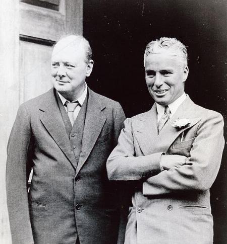 Winston Churchill et Charlie Chaplin, le 19 septembre 1931, à Londres.