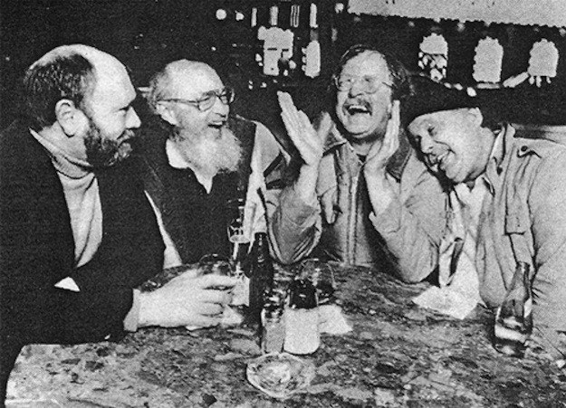 Curt Gentry, Don Carpenter, Richard Brautigan, and Enrico at Enrico's.