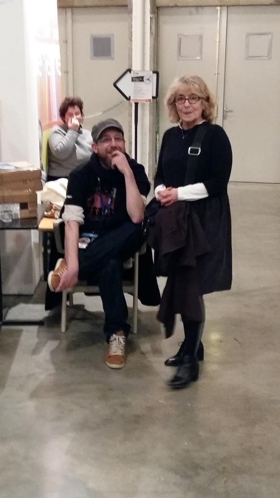 Coucou l'équipe (Romain Delassalle de la librairie Vent d'ouest et Marie-Sylvie Bitarelle coordinatrice générale du Festival Atlantide)