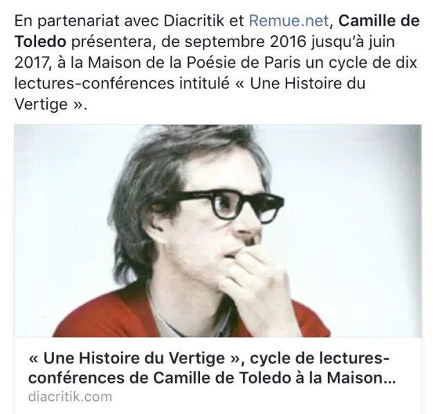 Camille de Toledo une histoire du vertige