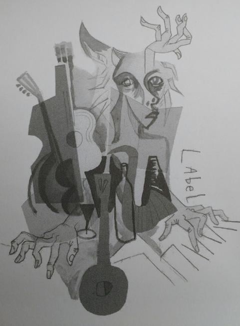 Dessin de Gopal Dagnono dans Léon-Gontran Damas, le poète jazzy (Editions A dos d'âne), texte de Nimrod