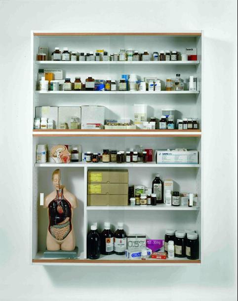 Damien Hirst, Lullaby, The Seasons Spring 2002 (Détail). Acier, verre et pilules ©Damien Hirst